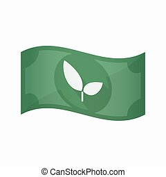 Isolated bank note with a plant - Illustration of an...