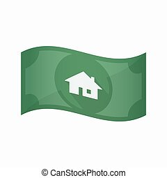 Isolated bank note with a house - Illustration of an...