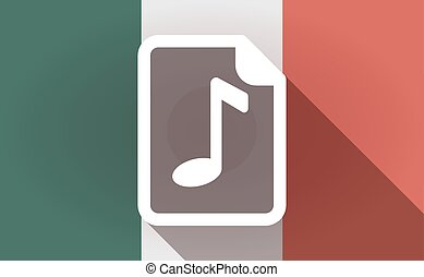 Long shadow Mexico flag with a music score icon -...