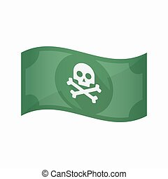 Isolated bank note with a skull - Illustration of an...