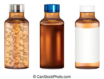 real amber glass medicine pills bottle