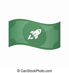Isolated bank note with a rocket - Illustration of an...