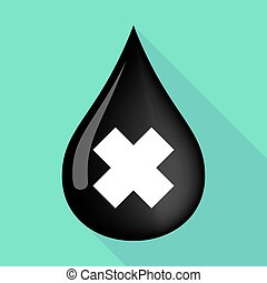 Long shadow oil drop with an irritating substance sign -...