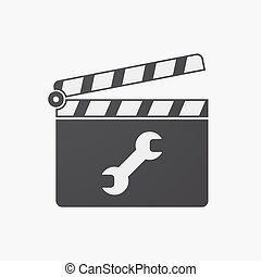 Isolated clapper board with a wrench - Illustration of an...