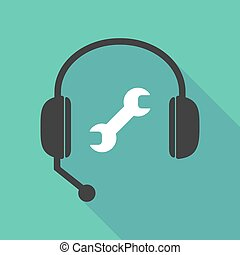 Long shadow headphones with a wrench - Illustration of a...