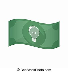 Isolated bank note with a light bulb - Illustration of an...
