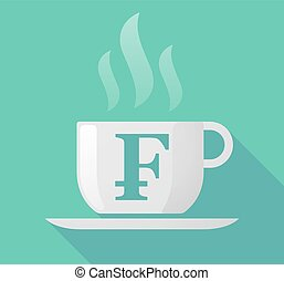 Long shadow mug with a swiss franc sign - Illustration of a...