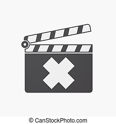 Isolated clapper board with an irritating substance sign -...