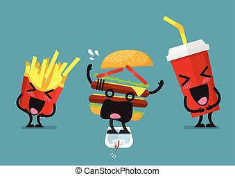 Funny laughing French fries and soft drink character with overweight burger character