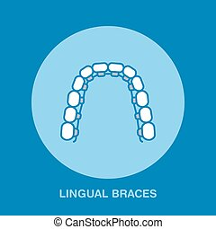 Dentist, orthodontics line icon of lingual braces, teeth...