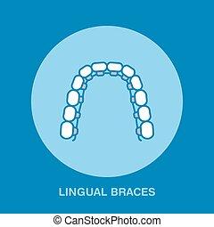 Dentist, orthodontics line icon of lingual braces, teeth...