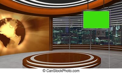 News TV Studio Set 253 - Virtual Green Screen Background...