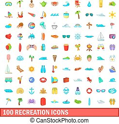 100 recreation icons set, cartoon style - 100 recreation...