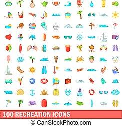 100 recreation icons set, cartoon style - 100 recreation...