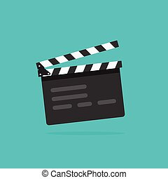 Clapperboard vecto, flat style clapperboard icon, filmmaking...