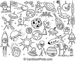 Cartoon Vector Set of Alien Space Elements - Set of cartoon...