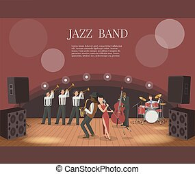 Jazz music band flat vector illustration with musicians on stage