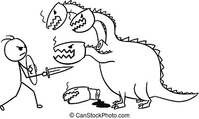 Cartoon of Man Fighting with Dragon - Cartoon vector doodle...