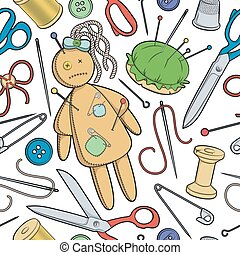 Vector seamless pattern with sewing utensils and a rag doll.