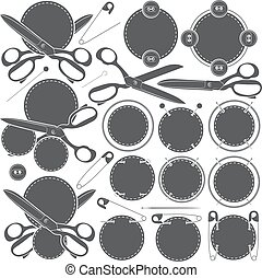 Set of vector signs with sewing accessories.