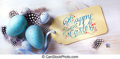 art Happy Easter; festive background with easter eggs and holidays card