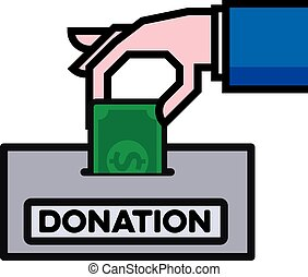 giving donation concept - hand putting a dollar bill in a...