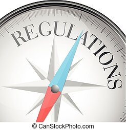 compass concept regulations - detailed illustration of a...