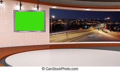 News TV Studio Set 254 - Virtual Green Screen Background...