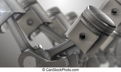 Close-up of animation engine pistons
