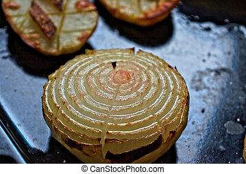 Onion Flower - Onion flower on a black tray