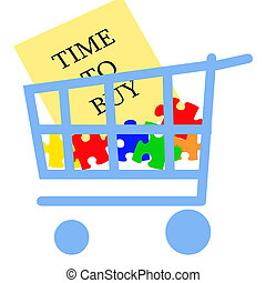 time to buy - blue grocery cart with colorful puzzle pieces...