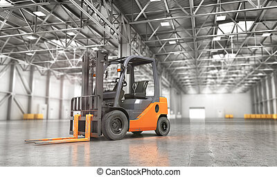 Concept of warehouse. The forklift in the empty big...