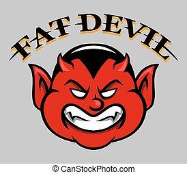 Fat Devil Face - Cartoon vector illustration of fat devil...