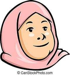 Moslem Kid Girl - Vector cartoon illustration of moslem kid...