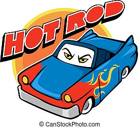 Hot Rod Car - Vector cartoon illustration of hot rod car