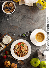 Multigrain healthy cereals with fresh strawberry -...