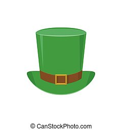 Vector illustration of green leprechaun top hat with gold...