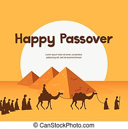 happy Passover in Hebrew, Jewish holiday card template -...