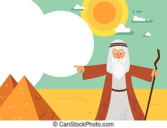 Moses from Passover story and Egypt pyramid landscape....