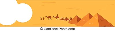 web banner. Group of People with Camels Caravan Riding in Realistic Wide Desert Sands in Middle East. Editable Vector Illustration