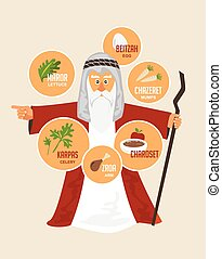 Moses over traditional Passover food. Jewish holiday...