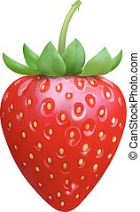 Strawberry Realistic icon vector isolated on white background