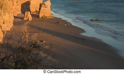 Praia da Rocha in Portimao, Portugal. View from the top of...