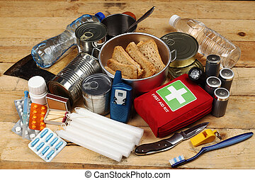 emergency Items - Items of emergency on wooden table