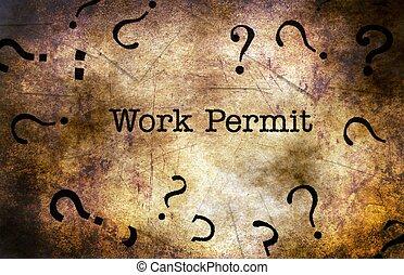 Work permit text on grunge background