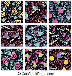 Set of vibrant geometric patterns - 9 vibrantly colorful...