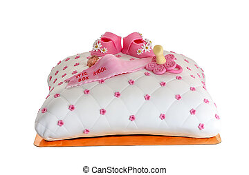 A birthday cake, pillow with baby, birthday.