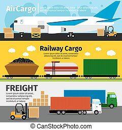 Cargo transportation banners. Logistics sea air loads delivery vector illustration