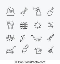Gardening line icons. Gardener tools and garden elements...