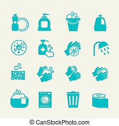 Hygiene and cleaning icons. Washing antiseptic, personal...